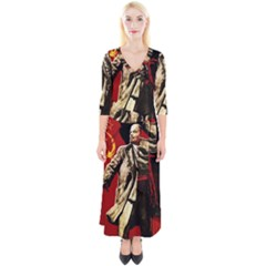 Lenin  Quarter Sleeve Wrap Maxi Dress