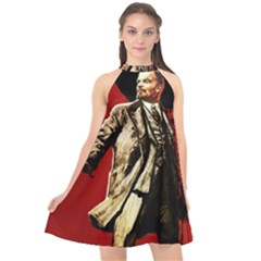 Lenin  Halter Neckline Chiffon Dress