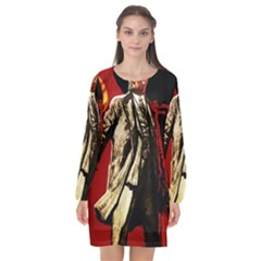 Lenin  Long Sleeve Chiffon Shift Dress