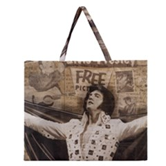 Vintage Elvis Presley Zipper Large Tote Bag