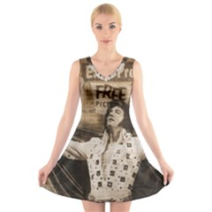 Vintage Elvis Presley V Neck Sleeveless Skater Dress