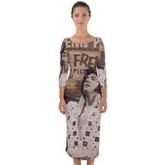 Vintage Elvis Presley Quarter Sleeve Midi Bodycon Dress