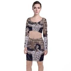 Vintage Elvis Presley Long Sleeve Crop Top & Bodycon Skirt Set