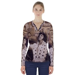 Vintage Elvis Presley V Neck Long Sleeve Top