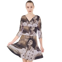 Vintage Elvis Presley Quarter Sleeve Front Wrap Dress