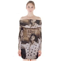Vintage Elvis Presley Long Sleeve Off Shoulder Dress