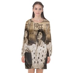 Vintage Elvis Presley Long Sleeve Chiffon Shift Dress