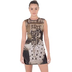 Vintage Elvis Presley Lace Up Front Bodycon Dress