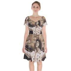 Vintage Elvis Presley Short Sleeve Bardot Dress