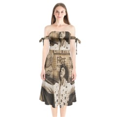 Vintage Elvis Presley Shoulder Tie Bardot Midi Dress