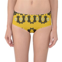 Ornate Circulate Is Festive In Flower Decorative Mid Waist Bikini Bottoms