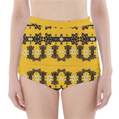 Ornate Circulate Is Festive In Flower Decorative High Waisted Bikini Bottoms