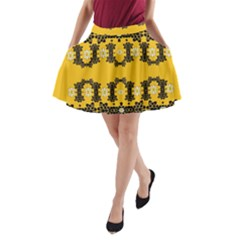 Ornate Circulate Is Festive In Flower Decorative A Line Pocket Skirt