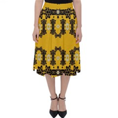 Ornate Circulate Is Festive In Flower Decorative Folding Skater Skirt