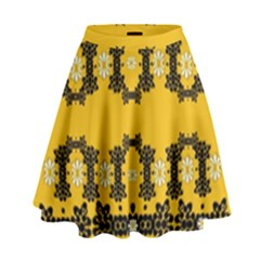 Ornate Circulate Is Festive In Flower Decorative High Waist Skirt