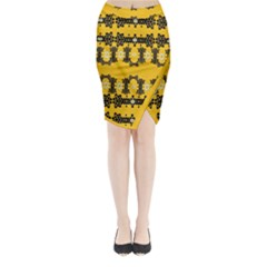 Ornate Circulate Is Festive In Flower Decorative Midi Wrap Pencil Skirt