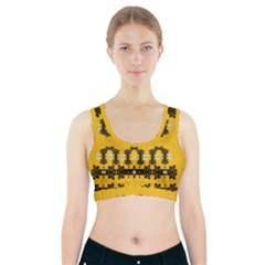 Ornate Circulate Is Festive In Flower Decorative Sports Bra With Pocket