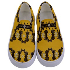 Ornate Circulate Is Festive In Flower Decorative Kids  Canvas Slip Ons
