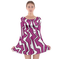 Electric Pink Polynoise Long Sleeve Skater Dress