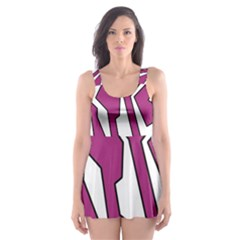 Electric Pink Polynoise Skater Dress Swimsuit