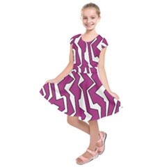 Electric Pink Polynoise Kids  Short Sleeve Dress