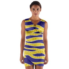 Yellow Tentacles Wrap Front Bodycon Dress