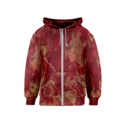 Marble Red Yellow Background Kids  Zipper Hoodie