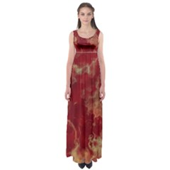 Marble Red Yellow Background Empire Waist Maxi Dress