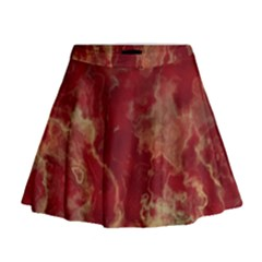 Marble Red Yellow Background Mini Flare Skirt