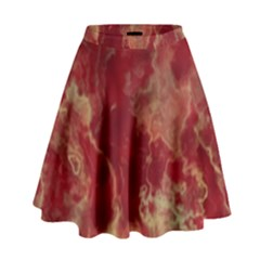 Marble Red Yellow Background High Waist Skirt