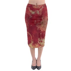 Marble Red Yellow Background Midi Pencil Skirt