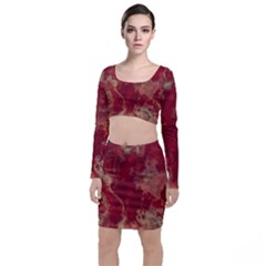Marble Red Yellow Background Long Sleeve Crop Top & Bodycon Skirt Set