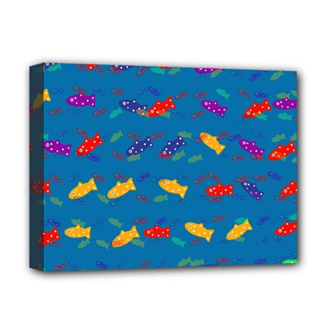 Fish Blue Background Pattern Texture Deluxe Canvas 16  X 12