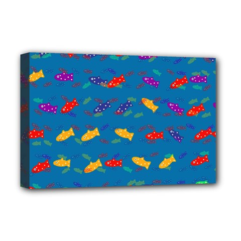 Fish Blue Background Pattern Texture Deluxe Canvas 18  X 12