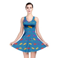 Fish Blue Background Pattern Texture Reversible Skater Dress