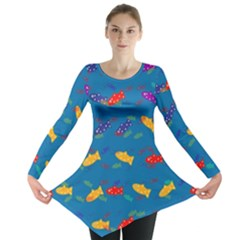 Fish Blue Background Pattern Texture Long Sleeve Tunic