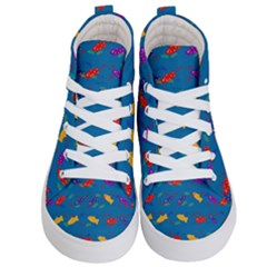 Fish Blue Background Pattern Texture Kid s Hi Top Skate Sneakers