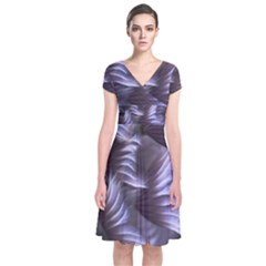 Sea Worm Under Water Abstract Short Sleeve Front Wrap Dress