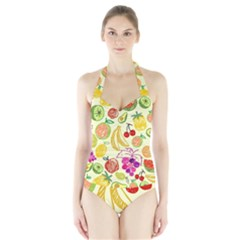 Seamless Pattern Desktop Decoration Halter Swimsuit