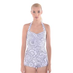 Ornament Vector Retro Boyleg Halter Swimsuit
