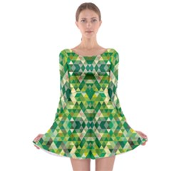 Forest Abstract Geometry Background Long Sleeve Skater Dress