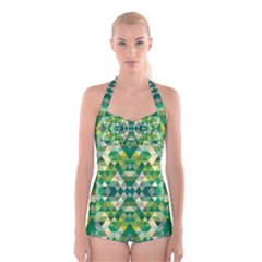 Forest Abstract Geometry Background Boyleg Halter Swimsuit