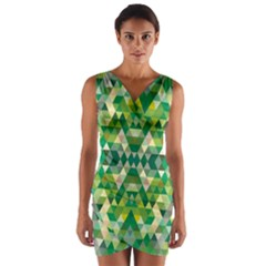 Forest Abstract Geometry Background Wrap Front Bodycon Dress