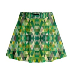 Forest Abstract Geometry Background Mini Flare Skirt