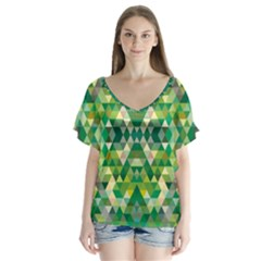 Forest Abstract Geometry Background V Neck Flutter Sleeve Top