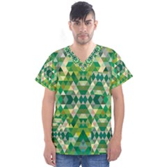Forest Abstract Geometry Background Men s V Neck Scrub Top