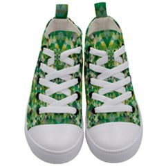 Forest Abstract Geometry Background Kid s Mid Top Canvas Sneakers