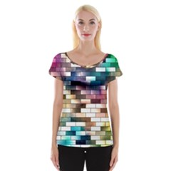 Background Wall Art Abstract Cap Sleeve Tops