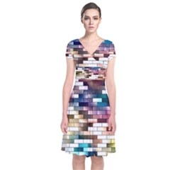 Background Wall Art Abstract Short Sleeve Front Wrap Dress