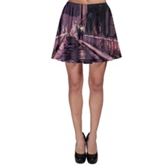 Texture Abstract Background City Skater Skirt